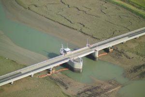 Aerial view of Havengore Bridge